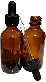Dropper Stop 2oz Amber Glass Dropper Bottles  60mL  with Tapered Glass Droppers - Pack of 2