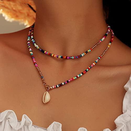 Ushiny Boho Shell Necklace Gold Beaded Choker Necklaces Colorful Bead Necklace Summer Necklace Jewelry for Women and Girls