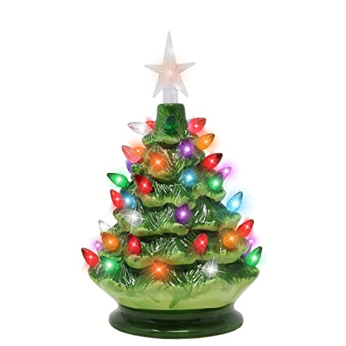 Joiedomi 9' Tabletop Prelit Ceramic Christmas Tree with LED Lights Battery Powered, Mini Christmas Tree Decoration