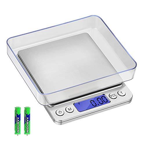 Mobxpar Balance de Précision 500g/0.01g, Balance de Precision 0.01g, Balance de Cuisine/Balance de Poche/Balances de Bijoux, avec Fonction Tare et Compte, Écran LCD Rétroéclairé, avec 2 Plateaux