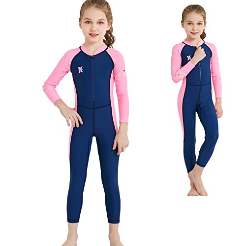 Dyung Tec Wetsuit for Kids Boys Girls One Piece Long Sleeve Swimsuit UV Protection (Navy, L(Height45''-49''))