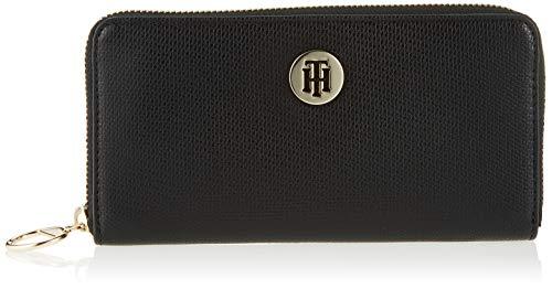 Tommy Hilfiger Effortless Saffiano Za Wallet, Portefeuilles Femme, Noir (Black), 2x11x19 cm (B x H T)