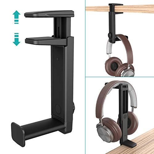 Soporte para Auriculares 2 en 1 con Clip de Cable y 360° Rotación,Klearlook (Doble...