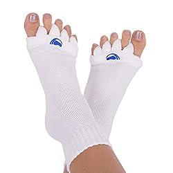 powerful Happy Feet Women's 7-9 Foot Alignment Socks / Men's 5-7 Original White Medium