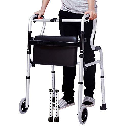 Anciano Caminante portátil Antideslizante a Prueba de Gota a Prueba de Gota aleación de Aluminio Ligero Plegable de Cuatro Patas bastón de Cuatro Patas con Asiento TINGG