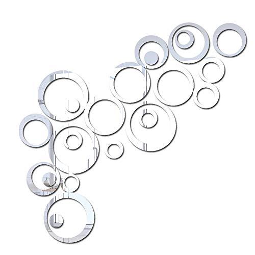 DXIA 24 PCS Adesivi Specchi da Parete Decorazioni, Murali Apecchio 3D Cristallo Acrilico Cerchio Stereo, Specchio Cerchio Murali da Parete Decorazione, per Fai da Te Casa Armadio Muro Porta (Argento)