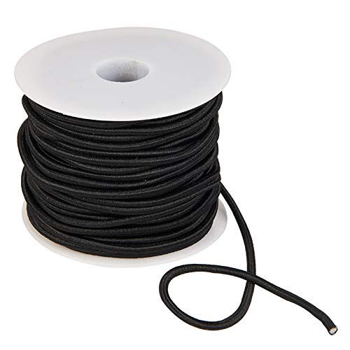 DanLingJewelry 25 Yards 3mm Black Beading Elastic Cord Fabric Elastic Cord for Jewelry Beads Crafting Sewing