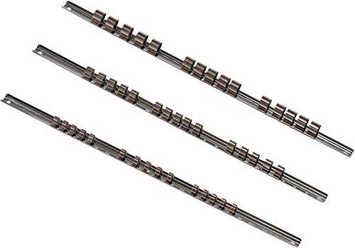 """3 x Aufsteckschiene/Klemmleiste/Nusshalter/Aufsteckleiste/Ordnungssystem mit 45 verschiebbare Clips für 1/4"""" 3/8"""" 1/2"""" Vierkant Nüsse Einsätze, 420 mm"""