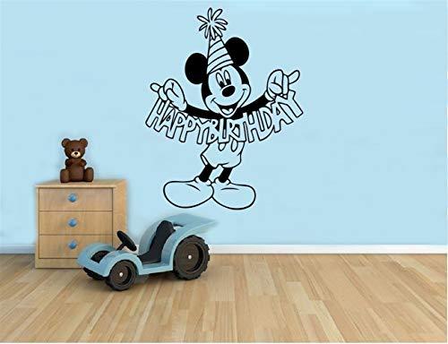 pegatina de pared 3d etiqueta de la pared Cumpleaños Saludos Mickey Mouse Etiqueta de la historieta Pared Niños Habitación de los niños Ideas Interior de la habitación