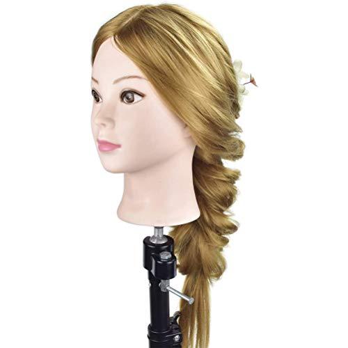 """Cabeza de maniquí de cosmetología FXS 26""""-28"""" marrón super largo pelo sintético profesional peluquería cabeza de maniquí cabeza de muñeca con abrazadera gratis"""