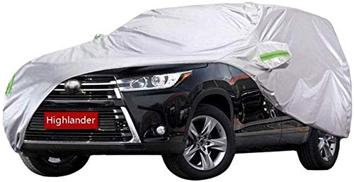 ZGYQGOO Full Car Cover - Outdoor Protector - Atmungsaktiv Wasserdicht Winddicht UV-Schutz Dick Oxford Covers Für Highlander Toyota SUV, Silber (Größe: 2013)