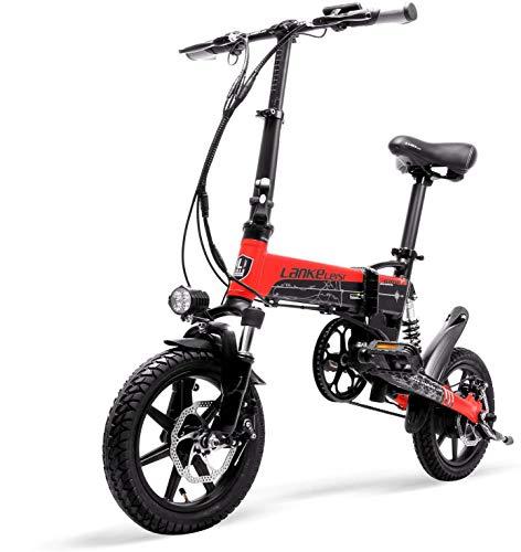 LANKELEISI Bicicleta eléctrica plegable portátil G100 de 14 pulgadas, motor de alta velocidad de 400 W, suspensión delantera y trasera, con pantalla LCD, asistencia de pedal de 5 niveles (plata)