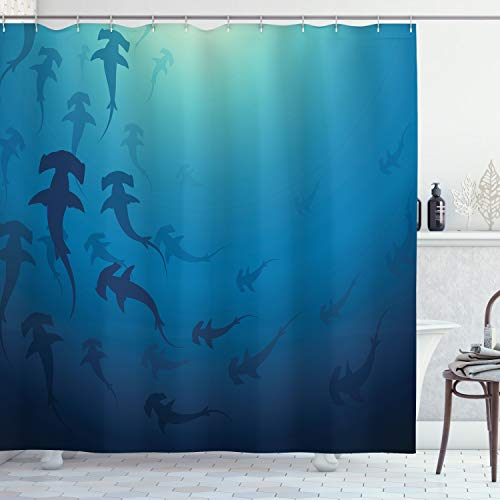 ABAKUHAUS Navy blau Duschvorhang, Hammerhai, mit 12 Ringe Set Wasserdicht Stielvoll Modern Farbfest & Schimmel Resistent, 175x200 cm, Marineblau
