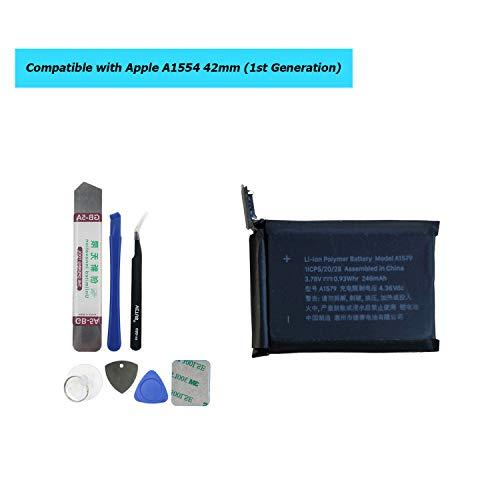 Upplus A1579 Ersatz Akku Kompatibel Für Apple Watch 1st Generation 42mm A1554 246mAh 3,78V 0,93Whr with Toolkit