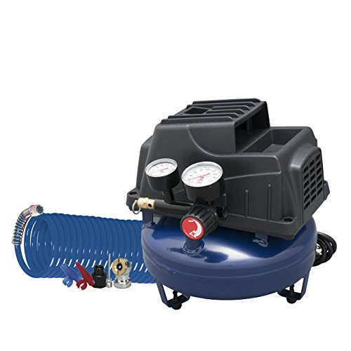 Air Compressor, 1 Gallon, Pancake, Oilless Pump, 110 PSI w/ Recoil Air Hose & Inflation Kit (Campbell Hausfeld FP2028)