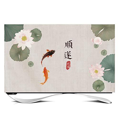 catch-L TV LCD Cubierta De La Pantalla Cubierta De Polvo Manga Protectora Peces Jugar Hoja De Loto Cubierta Antipolvo (Color : Smoothly, Size : 27 Inches)