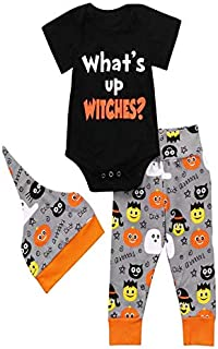 iZHH Boys Girls Clothes Baby Halloween Sets Snap-up Romper Pants Hats 3 Piece Sets Toddler Infant Tops Trouser Skull Pumpkin Ghost Print(A-Black,6-12 Monthes)