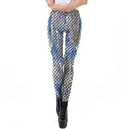 Rongjuyi Fashion Trend Design dames blauw zilver visnaden leggings broek 3D print Kerstmis voor yoga sport
