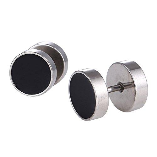 Dilatador de piercing falso color plateado, 15 mm, tapa de rosca de acero inoxidable, color negro
