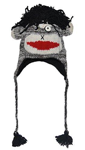 Bonnet Animaux/Chapeau Animal - Singe Punk Noir Adulte - 40 modèles d'animaux Disponibles