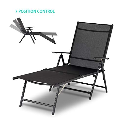 Esright Outdoor Chaise Lounge Chair, Folding Textiline Reclining Lounge Chair for Beach Yard Pool Patio with 7 Back & 2 Leg Adjustable Positions (Black)