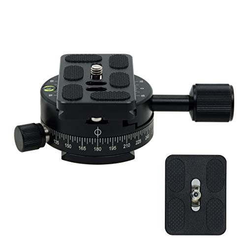 "SIOTI 360°Panoramic Head, Panoramic Tripod Head with Quick Plate Compatible with RRS/ARCA Ball Head or Any Tripod Head/Tripod with 1/4"" or 3/8"" Mount"
