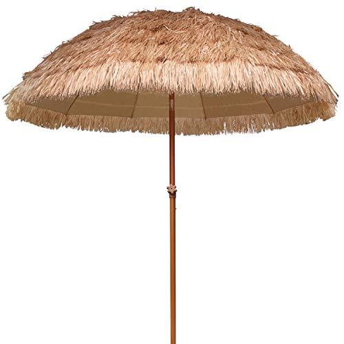 AMMSUN 230cm Hula Stroh Tiki Regenschirm Hawaiianischer Sonnenschirm Gartenschirm 10 Rippen UPF 50+ Mit Tilt Natural Color