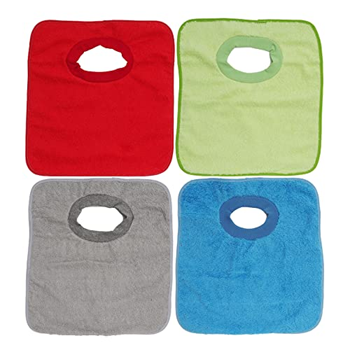 Ti TIN, Lot de 4 Bavoirs Imperméables, 32x36 cm | 90% Coton - 10% polyester - Bavoirs pour Bébés de plus d'un an - Fermeture Élastique - Doublure Vinyle - Couleur Unie (Rouge, Orange, Bleu) - 320gr/m²