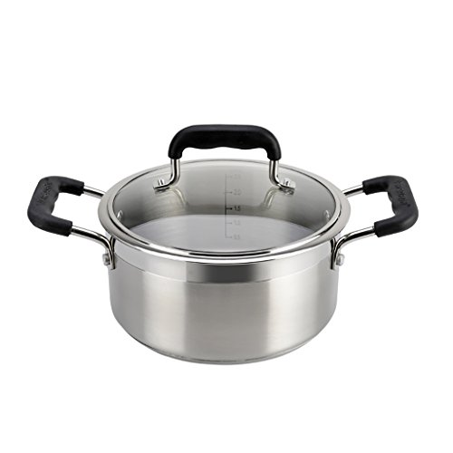 YONGLIANG Kitchen Supplies 304 Stainless Steel Soup Pot Thickened At The End Of Induction Cooker Soup Stew Soup Large Ears Pot Small Pot (Color : 24cm)
