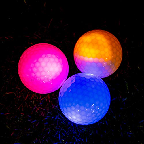 THIODOON Glow Golf Balls Led Golf Balls Glow in The Dark Golf Balls Flashing Golf Ball Light up Long Lasting Bright Night Sports 6 Colors for...