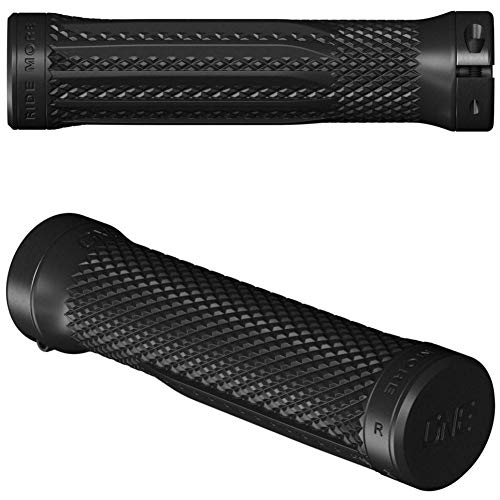 OneUp Components Lock-On Mountain Bike Grips - Black/Single Locking MTB Super Tacky Rubber Handlebar Bar Handle Pair Racing Race Downhill Enduro Trail Cycling Cycle Riding Ride Hand Control Part