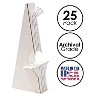 "Lineco, Pack of 25, 7"" White Adhesive Easel Back Self Stick, Double Wing. Display Your Signs, Crafts, Pictures, Art, Prints. Easy and Quick Application. Poster & Art Stand."