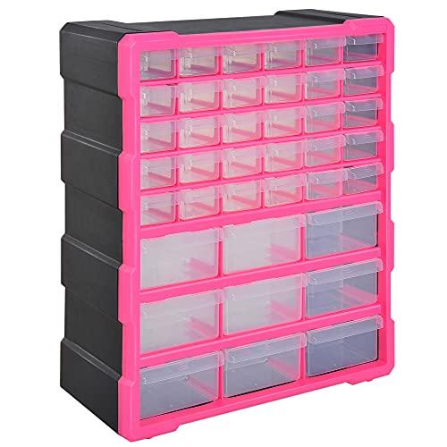 cassetta attrezzi 16 DURHAND Cassettiera in Plastica Portaminuterie con 39 Cassetti Trasparenti