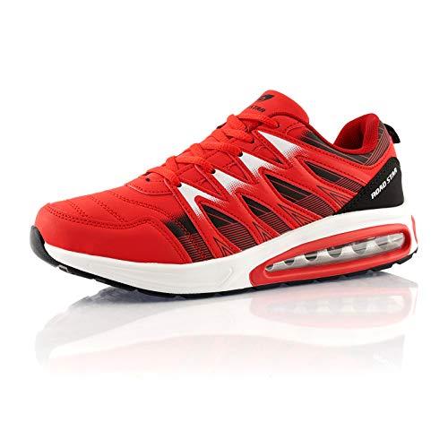 Fusskleidung® Damen Herren Sportschuhe Dämpfung Sneaker leichte Laufschuhe Schwarz Rot Weiß EU 44