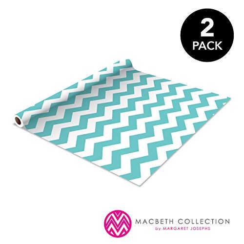 The Macbeth Collection Self Adhesive Shelf Liner - 2 Pack - Rugby Chevron Aqua Pop