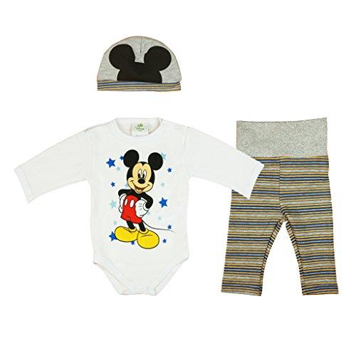 Disney Baby Mickey Mouse Jungen 3teiler Set warm dick leicht gefüttert, unterschiedliche Modelle, in Größe 56 62 68 74 80 86, Body, Hose und Mütze Farbe Modell 6, Größe 56