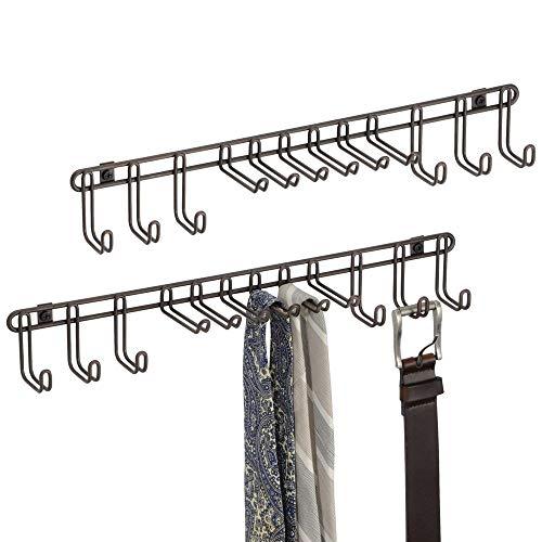 mDesign Set da 2 Appendi Cravatte da Muro – Pratico Portacravatte e Portacinture – Montaggio a Parete – Ideale per Appendere Foulard, Borse e Tanti Al