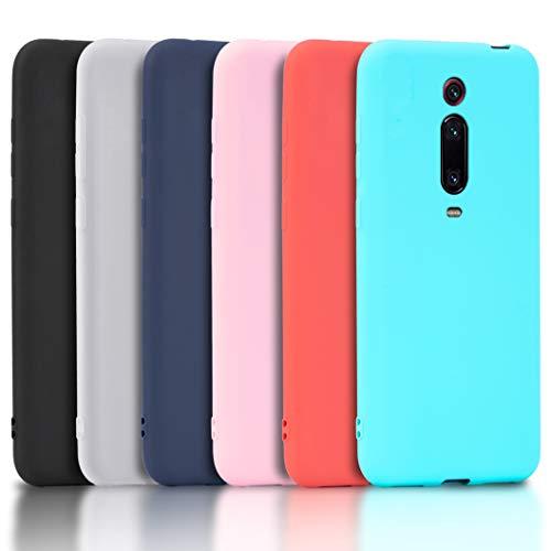 Wanxideng - 6x Funda para Xiaomi Mi 9T / 9T PRO, Carcasa en Silicona - [ Negro + Blanco Translúcido + Rojo+ Rosado+ Menta Verde + Azul Claro ]