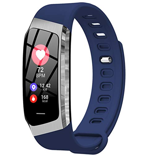 LYB Smart Band E18 Moda Smartband Color Screen Smart Watch Pulsera Tarifa Cardíaca Presión Arterial Cámara Remota Deportes Fitness Bandas (Color : Blue Silver)
