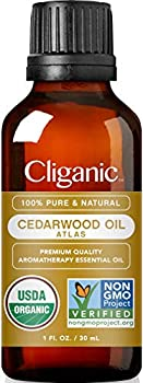 Cliganic USDA Organic Cedarwood Essential Oil - 100% Pure Natural Undiluted for Aromatherapy Diffuser | Non-GMO Verified