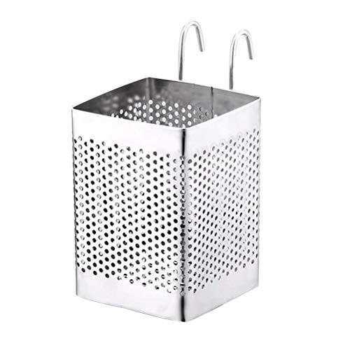 OUNONA Utensili da cucina posate da tavola in acciaio inossidabile Utensili da cucina Utensili da cucina caddy con ganci (Argento)