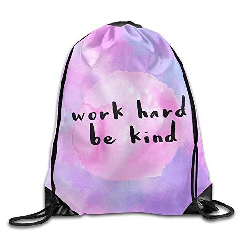 uykjuykj Tunnelzug Rucksäcke, Work Hard Be Kind Trendy Drawstring Shoulder String Bag Backpack Sackpack Lightweight Unique 17x14 IN