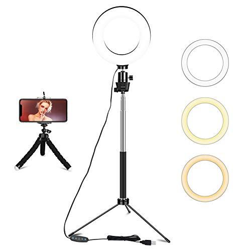 Ringlicht mit Stativ, 6 Zoll Dimmbares Selfie Ringleuchte mit 3 Farbmodi & 10 Helligkeit Led Ringlicht für Selfie, Vlog, Makeup, YouTube, Live-Stream
