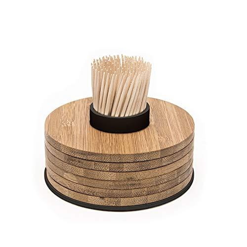 Adomo Point-Virgule Glas Untersetzern-Set aus Bambus 6 Stück auf Zahnstocherhalter, perfektes Geschenkset Frauen, schwarz, 9x9x5cm, braun, A'Domo_PV-BAM-0905
