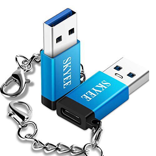 Skyee 2 Unidades Adaptador USB Tipo C con Llavero, USB-C Hembra a Tipo A USB 3.0 Macho Adaptador, USB 3.1 Tipo C Adaptador pour Carga o la Transferencia de Datos- Azul