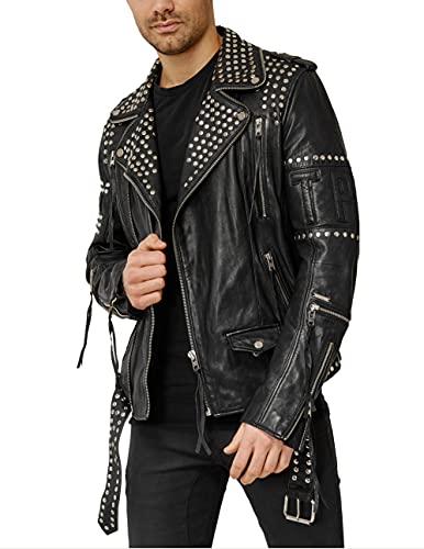 trueprodigy Casual Hombre Marca Chaqueta De Cuero Autentica Ropa Retro Vintage Rock Vestir Moda Moto Verano Manga Larga Slim Fit Designer Fashion Jacket, Colores:Black, Tamaño:XL
