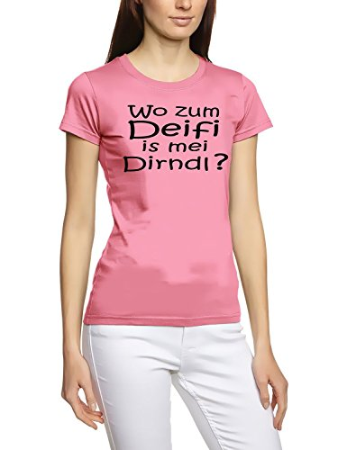 Wo zum DEIFI is mei DIRNDL ? Girly Oktoberfest Wiesn T-Shirt Pink-Schwarz Gr.M