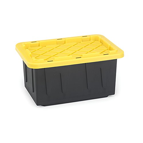 Homz 15-Gallon Durabilt Tough Tote, Black w/Yellow Lid, Stackable, 6-Pack