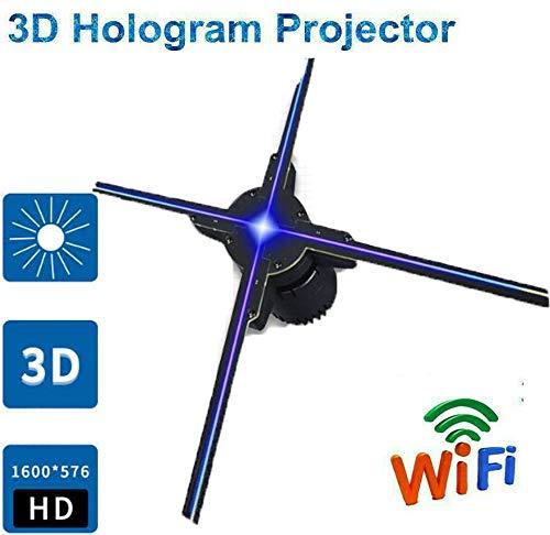 WXJHA 3D Hologram Advertising Display LED Fan, 50CM 4 Fan Hologram Fan Light con Control WiFi Imágenes holográficas para Tienda, Tienda, Bar, Casino, Eventos de Vacaciones, etc.