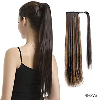 BARSDAR 26 inch Ponytail Extension Long Straight Wrap Around Clip in Synthetic Fiber Hair for Women - Dark Brown mix Strawberry Blonde Unevenly